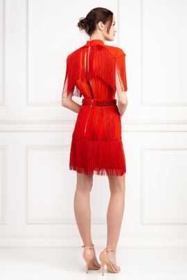 * Mini Red Dress With Fringes-1