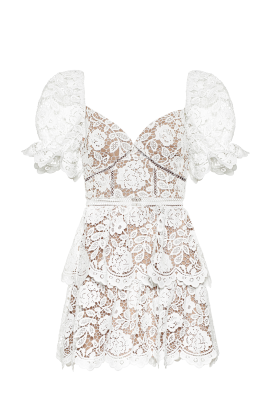 White Puff Sleeve Floral Dress-0