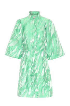 Island Green Brocade Dress-4