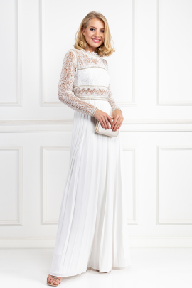 Embellished Lace And Crepe Maxi Dress-1