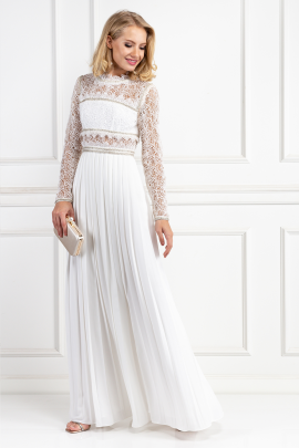 Embellished Lace And Crepe Maxi Dress-2