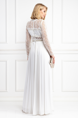 Embellished Lace And Crepe Maxi Dress-3