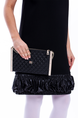 Black Quilted Eco Leather-1