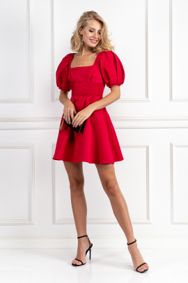 Puff-Sleeved Ottoman Mini Dress-1