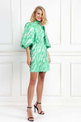 Island Green Brocade Dress-0
