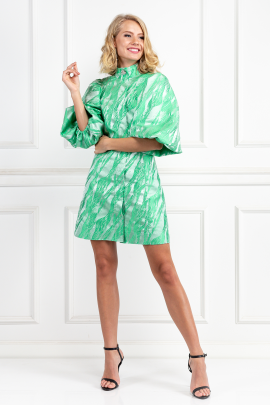 Island Green Brocade Dress-1
