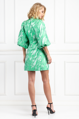 Island Green Brocade Dress-2
