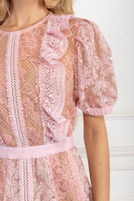 Pink Dress With Sequin Embroideries-3