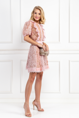 Pink Dress With Sequin Embroideries-1