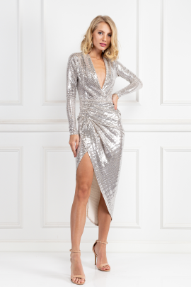 Silver Sequin Wrap Maxi Dress-0