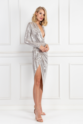 Silver Sequin Wrap Maxi Dress-1