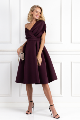 Fallen Shoulder Aubergine Dress-0