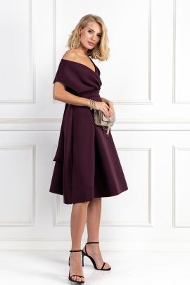 Fallen Shoulder Aubergine Dress-1