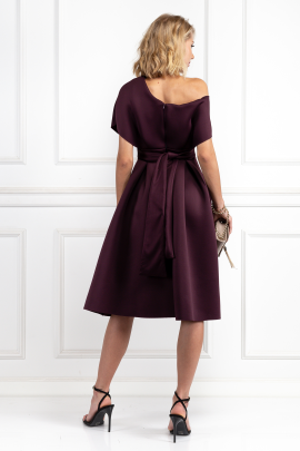 Fallen Shoulder Aubergine Dress-2