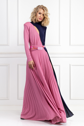 Two-Colour Long Dress-1
