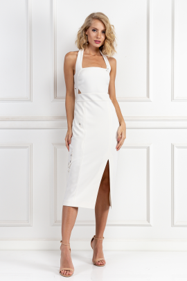 White Halter Neck Dress-0