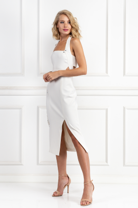 White Halter Neck Dress-1