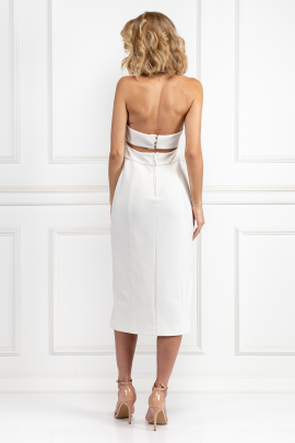 White Halter Neck Dress-2