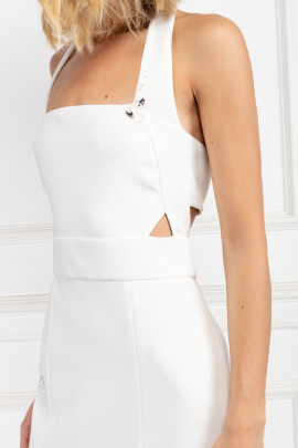 White Halter Neck Dress-3