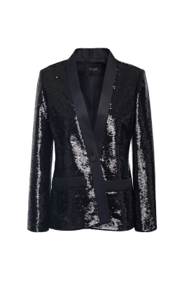 Sequined Satin-twill Blazer -4