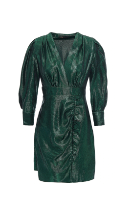 Ruffle-trimmed Emerald Dress-0