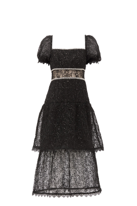 Black Sequin-embellished Layered Dress-4