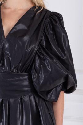 Black Wet-look Satin Mini Dress-3