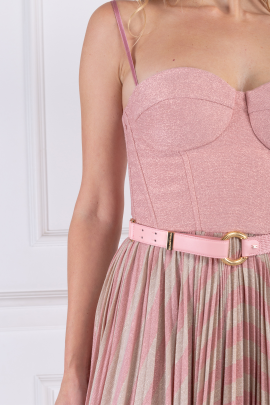 Pink Sleeveless Dress With Belt-3