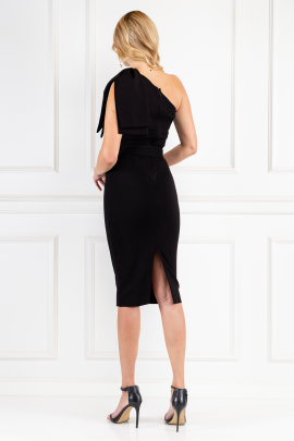 Black Statement Bow Shoulder Midi Dress-2