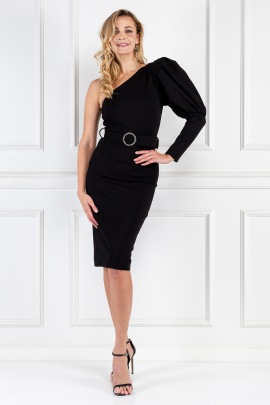 Black Puff Sleeve Midi Dress-0