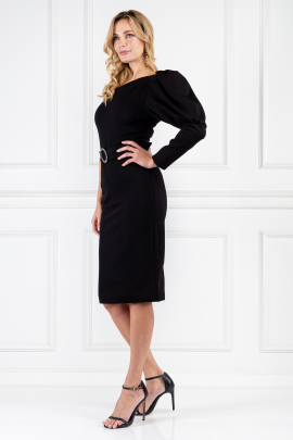 Black Puff Sleeve Midi Dress-1