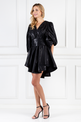 Black Wet-look Satin Mini Dress-1