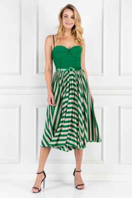 * Green Sleeveless Dress With Belt-0