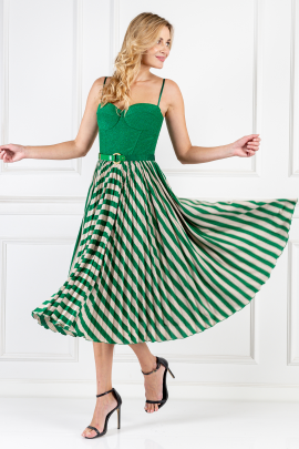 * Green Sleeveless Dress With Belt-1