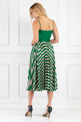 * Green Sleeveless Dress With Belt-2