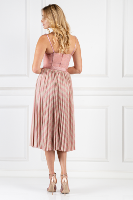 Pink Sleeveless Dress With Belt-2