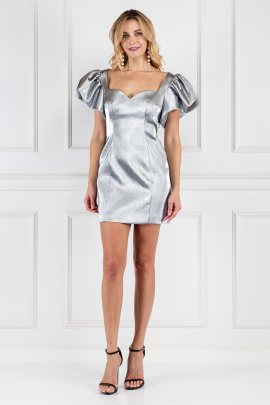 Puff-sleeved Metallic Mini Dress-0