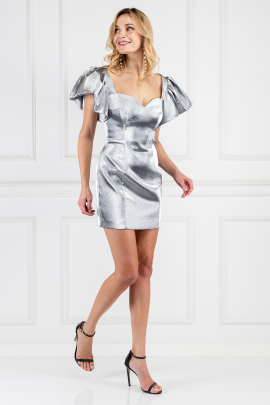 Puff-sleeved Metallic Mini Dress-1