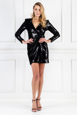 Wrap-effect Black Sequined Dress-0