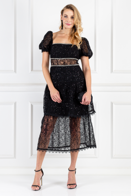 Black Sequin-embellished Layered Dress-0