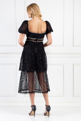 Black Sequin-embellished Layered Dress-2