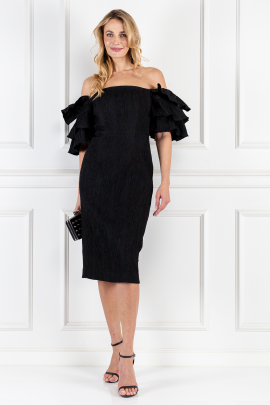 Tiered-sleeve Cloqué Dress-0