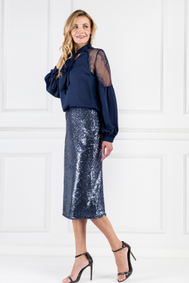 Marta Sequined Indigo Skirt-1
