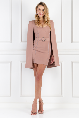Nude Cape Mini Dress-0