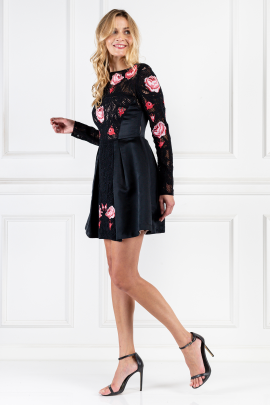Embroidered Black Silk Dress-1