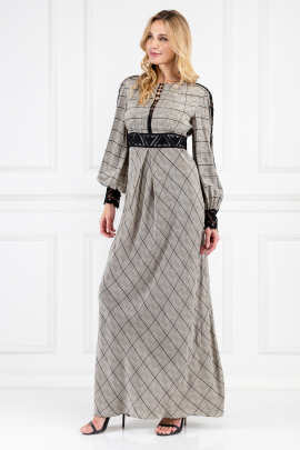 Long Helm Check Dress-1