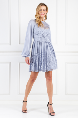 Pale Blue Azure Sleeved Dress-0