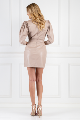 Cream Leather Belted Dress-2