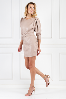 Cream Leather Belted Dress-1