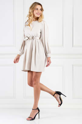 Champagne Dress With Bow Tie Belt-1